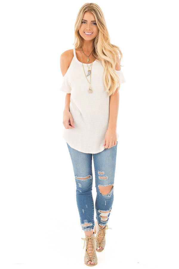 Ivory Waffle Knit Cold Shoulder Top front full body