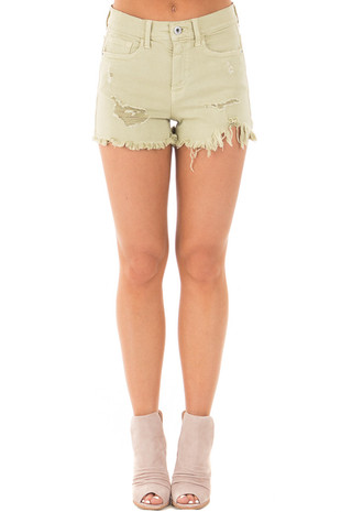 Pistachio Distressed Denim Cut Off Shorts front view