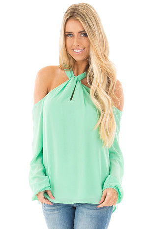 Mint Green Chiffon Cold Shoulder Long Sleeve Halter Top front close up