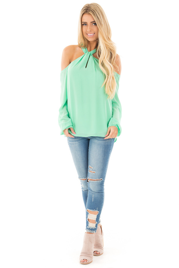 Mint Green Chiffon Cold Shoulder Long Sleeve Halter Top front full body