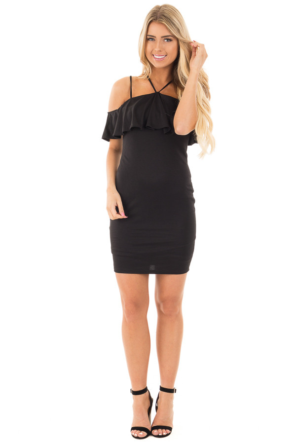 Black Fitted Double Strap Tank Dress with Ruffle Top front full body