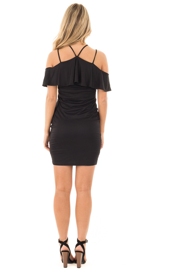 Black Fitted Double Strap Tank Dress with Ruffle Top back full body