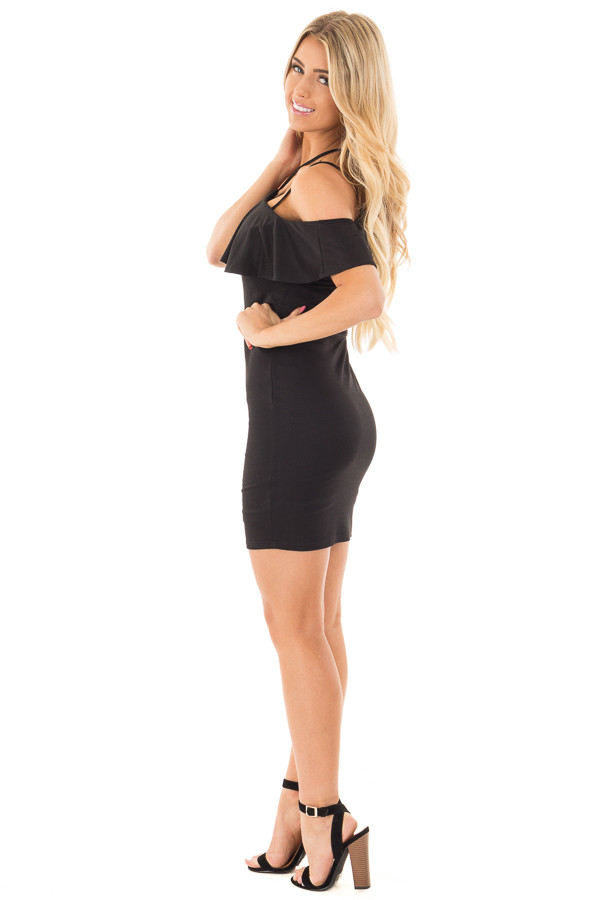 Black Fitted Double Strap Tank Dress with Ruffle Top side full body