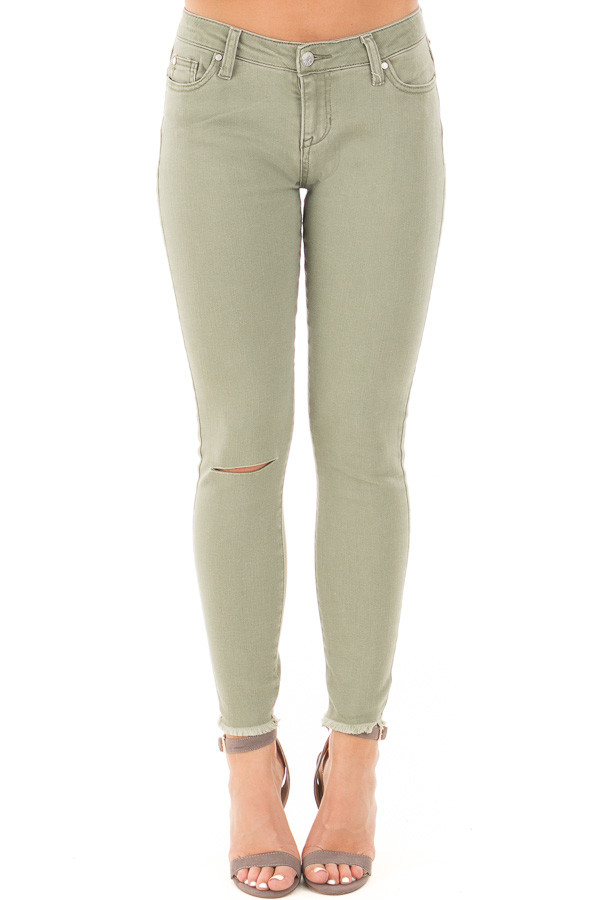 Sage Denim Mid Rise Ripped Knee Skinny Fit Ankle Jeans front view