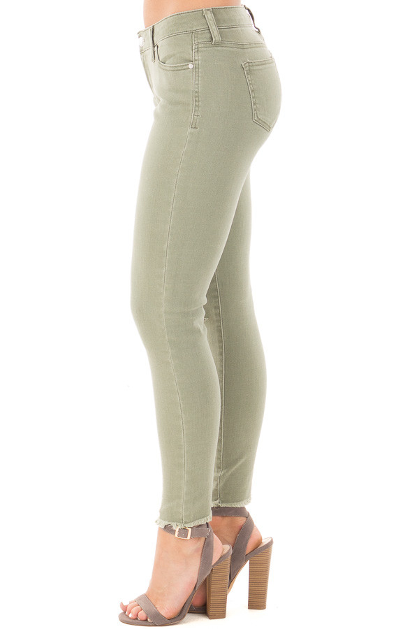 Sage Denim Mid Rise Ripped Knee Skinny Fit Ankle Jeans side left leg