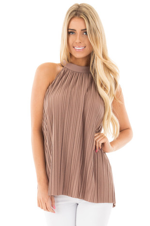 Mocha Soft Pleated Key Hole Back Halter Tank with Tie Detail front close up