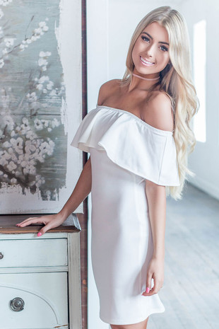 Ivory Ruffle Off the Shoulder Bodycon Dress side close up