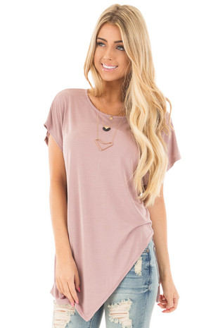 Mauve Cap Sleeve Tee with Asymmetrical Split Hem front close up