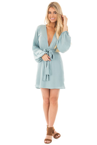 Dusty Blue Soft Satin Open Back Long Sleeve Dress front full body