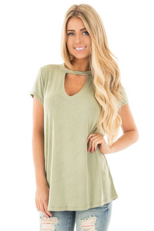 Olive Washed Jersey Knit Cut Out Mock Neck Top front close up