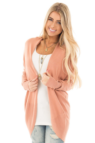 Dusty Coral Soft Long Sleeve Open Cardigan front close up