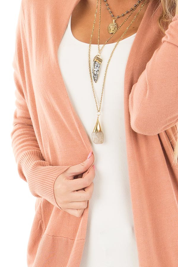 Dusty Coral Soft Long Sleeve Open Cardigan detail