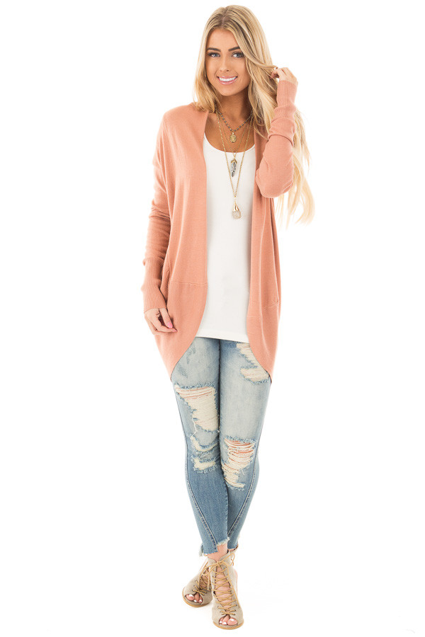 Dusty Coral Soft Long Sleeve Open Cardigan front full body