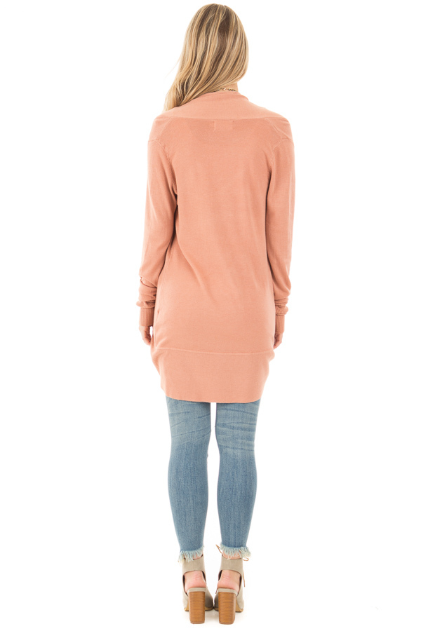 Dusty Coral Soft Long Sleeve Open Cardigan back full body