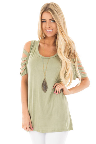 Olive Washed Jersey Knit Tee with Ladder Cut Out Sleeves front close up