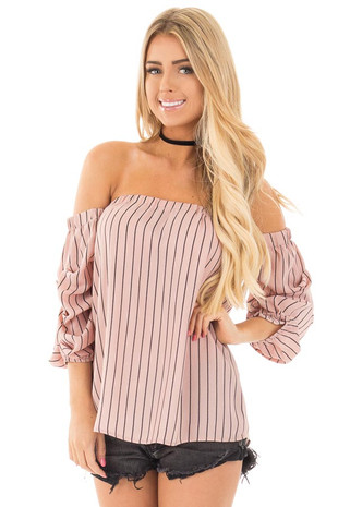 Salmon Pink Off Shoulder Striped Blouse front close up