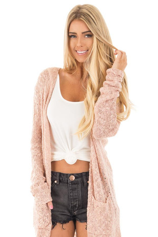 Dusty Pink Soft Knit Open Cardigan with Pockets front close up