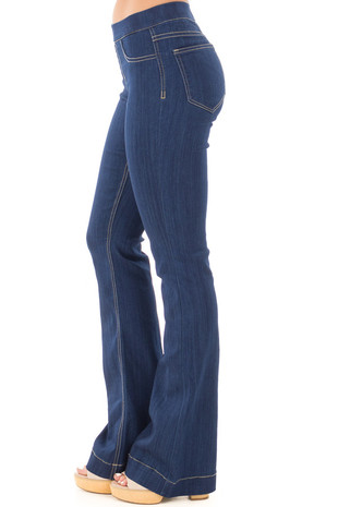 True Blue Denim Flare Jeggings side right leg