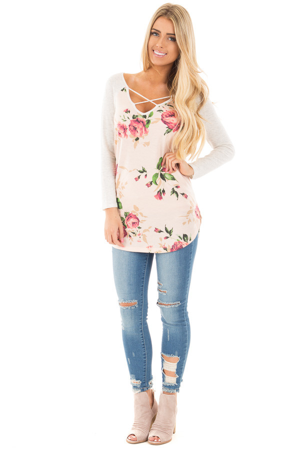 Light Peach Rose Floral Top with Light Grey Contrast front full body
