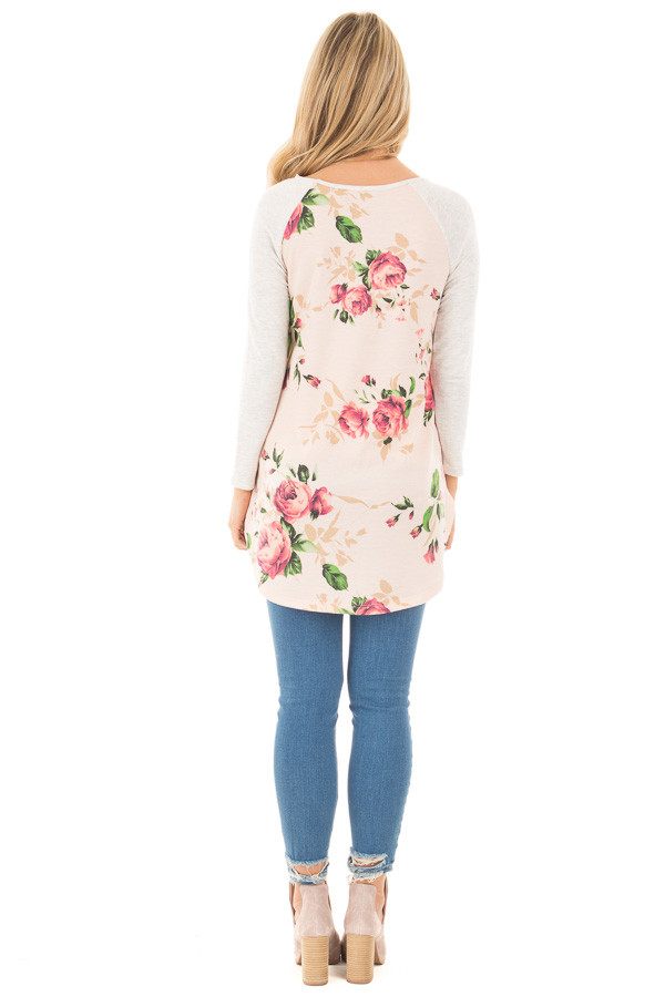 Light Peach Rose Floral Top with Light Grey Contrast back full body