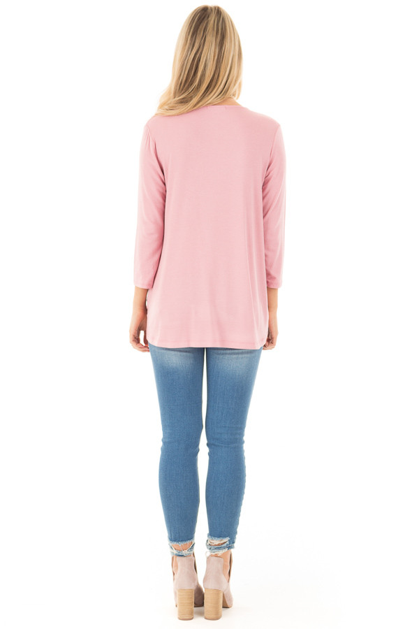 Dusty Pink 3/4 Length Sleeve Crossover Drape Style Top back full body