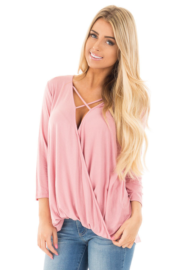 Dusty Pink 3/4 Length Sleeve Crossover Drape Style Top front close up