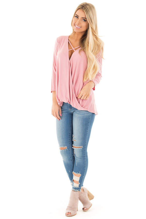 Dusty Pink 3/4 Length Sleeve Crossover Drape Style Top front full body