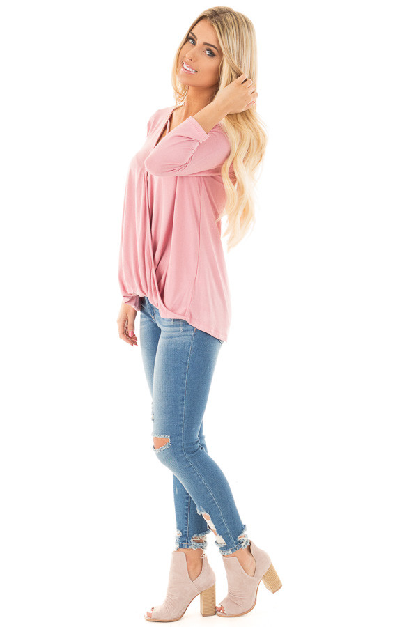 Dusty Pink 3/4 Length Sleeve Crossover Drape Style Top side full body