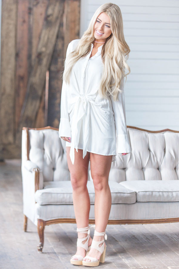 White Button Up Long Sleeve Tunic Dress with Tie Detail front full body