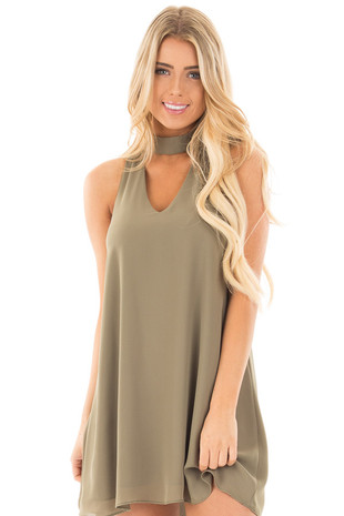 Olive Chiffon Mock Neck Tank Dress with Cut Out Detail front close up