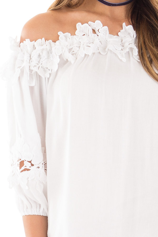 White Off Shoulder Top with Floral Crochet Contrast detail