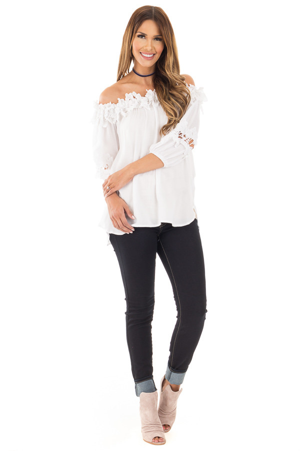 White Off Shoulder Top with Floral Crochet Contrast front full body