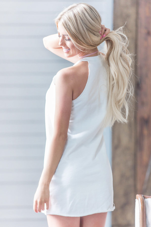 White Halter Cut French Terry Dress back close up