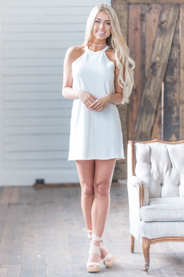 White Halter Cut French Terry Dress front full body