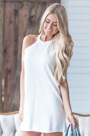 White Halter Cut French Terry Dress front close up