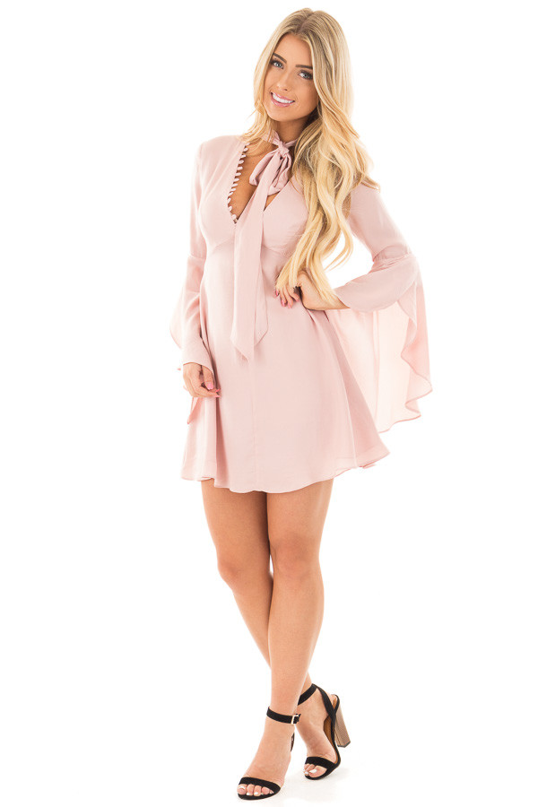 Blush V-Neck Dress with Bell Sleeves and Neck Scarf front full body