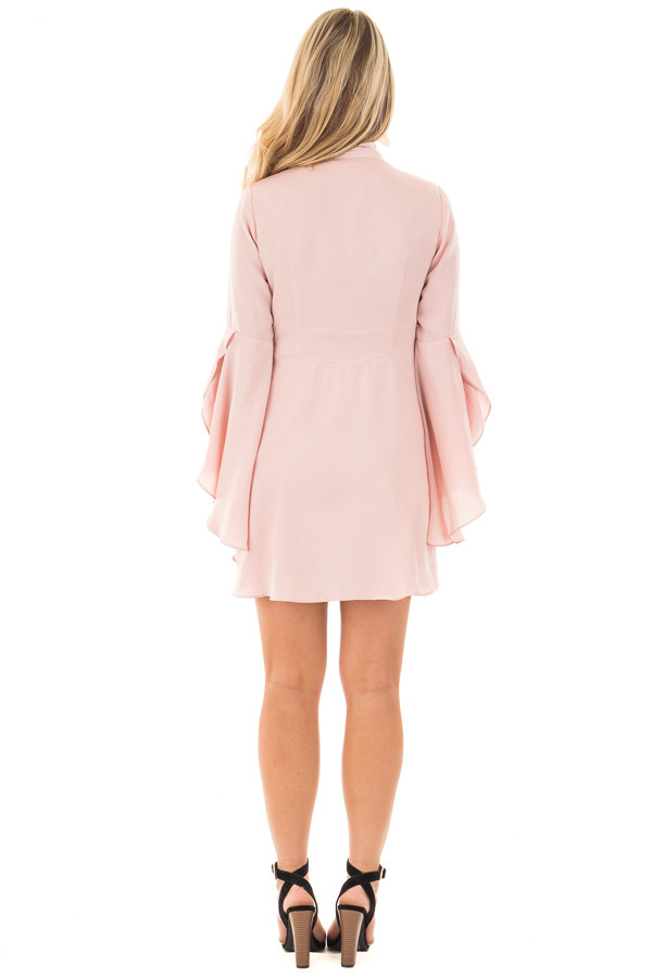 Blush V-Neck Dress with Bell Sleeves and Neck Scarf back full body