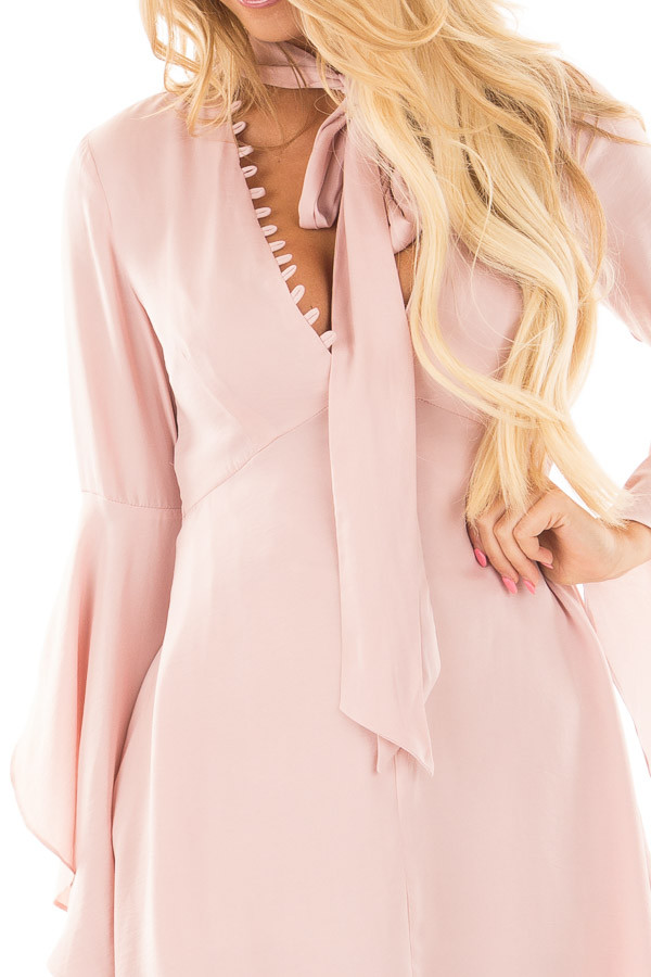 Blush V-Neck Dress with Bell Sleeves and Neck Scarf detail