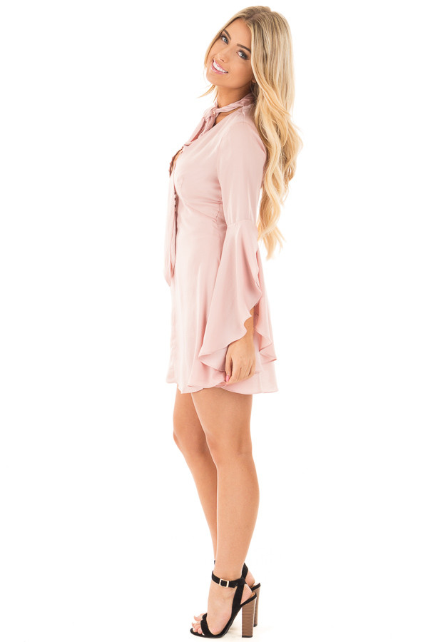 Blush V-Neck Dress with Bell Sleeves and Neck Scarf side full body