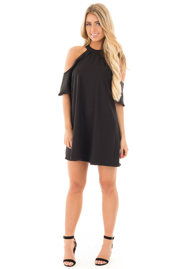 Black Halter Dress with Ruffle Neckline and Buckled Back front full body