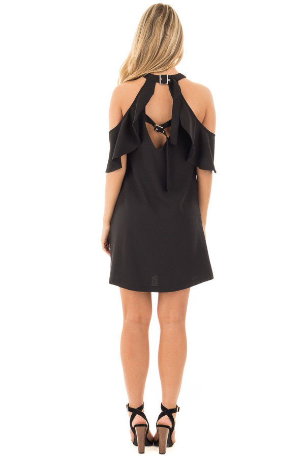 Black Halter Dress with Ruffle Neckline and Buckled Back back full body
