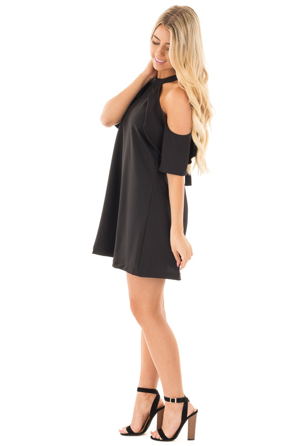 Black Halter Dress with Ruffle Neckline and Buckled Back side full body