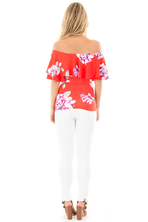 Lipstick Red Soft Floral Off the Shoulder Top back full body
