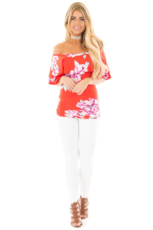 Lipstick Red Soft Floral Off the Shoulder Top front full body