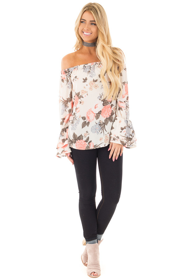 Ivory and Coral Floral Off the Shoulder Long Bell Sleeve Top front full body