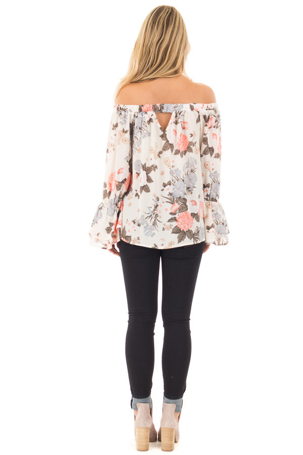 Ivory and Coral Floral Off the Shoulder Long Bell Sleeve Top back full body