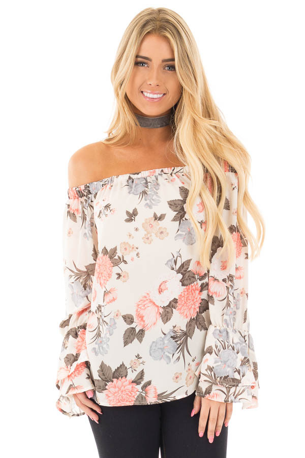 Ivory and Coral Floral Off the Shoulder Long Bell Sleeve Top front close up