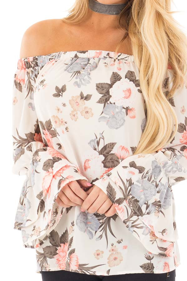Ivory and Coral Floral Off the Shoulder Long Bell Sleeve Top detail