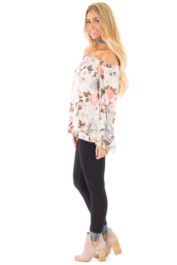 Ivory and Coral Floral Off the Shoulder Long Bell Sleeve Top side full body