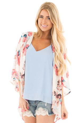 Ivory and Blush Floral Print Chiffon Kimono Cardigan front close up